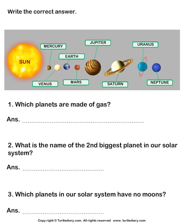 Questions on Solar System Worksheet - Turtle Diary