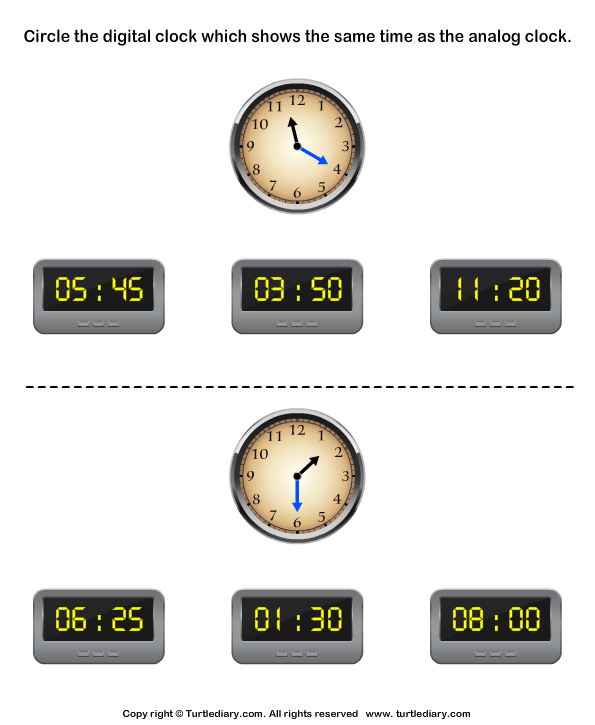 Read Analog Clock and Match with Digital Clock Worksheet - Turtle ...