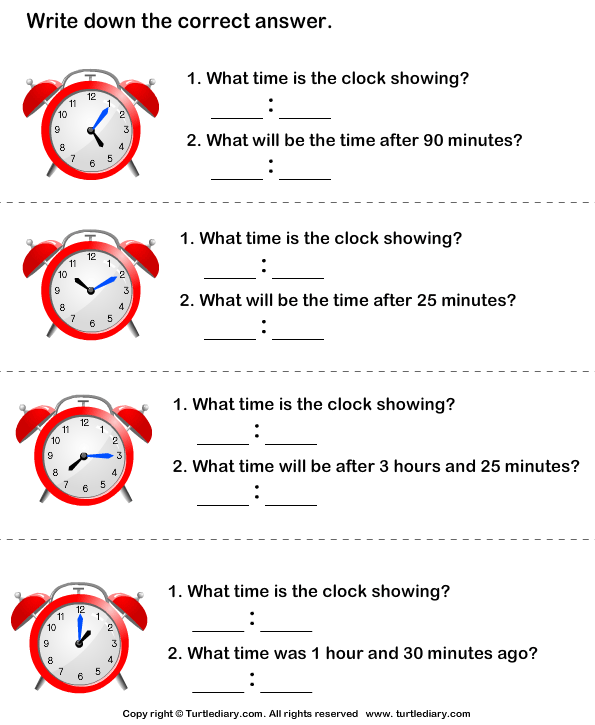 Read Clock and Find Time Difference Worksheet - Turtle Diary