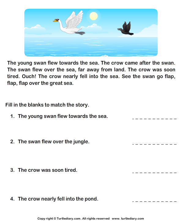 Read Comprehension Crow And Swans And Answer The Questions