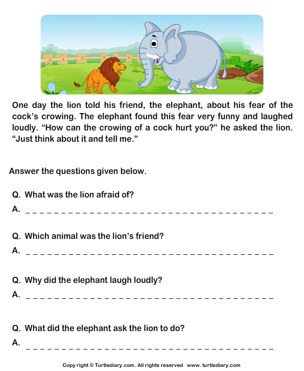 Read Comprehension Lion and Cock and Answer the Questions – Math Reading Comprehension Worksheets
