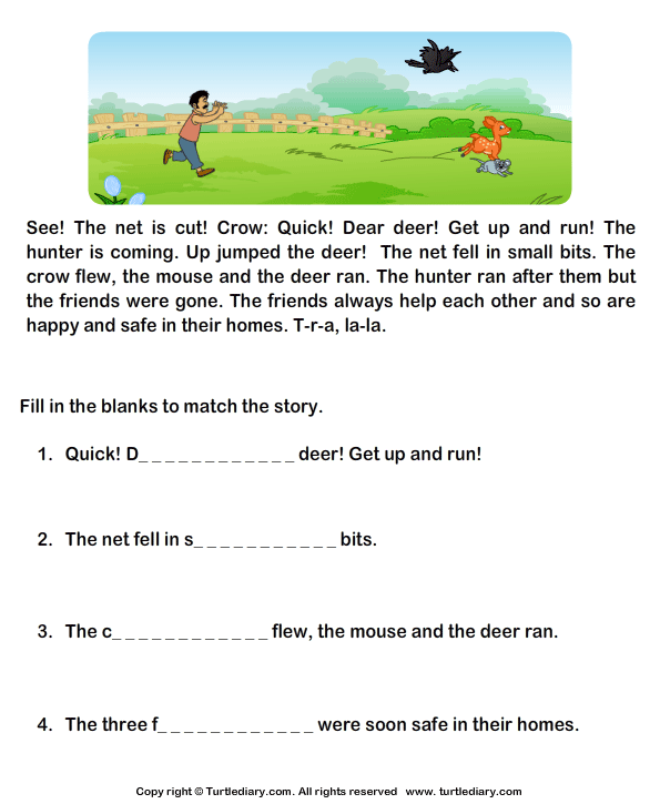 Worksheet Reading Comprehension For Grade 1 With Questions read comprehension mouse crow and deer answer the questions reading stories