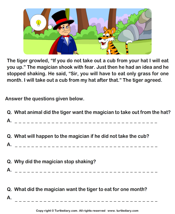 Worksheets Examples Short Story For Grade Three With Exercises read comprehension tiger and magician answer the questions reading stories