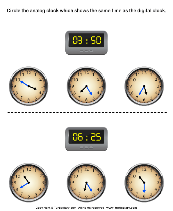 Read Digital Clock and Match with Analog Clock Worksheet Turtle – Digital Clock Worksheets