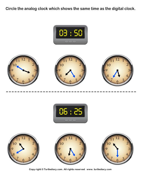 Match Analog And Digital Clocks Worksheet Turtle Diary