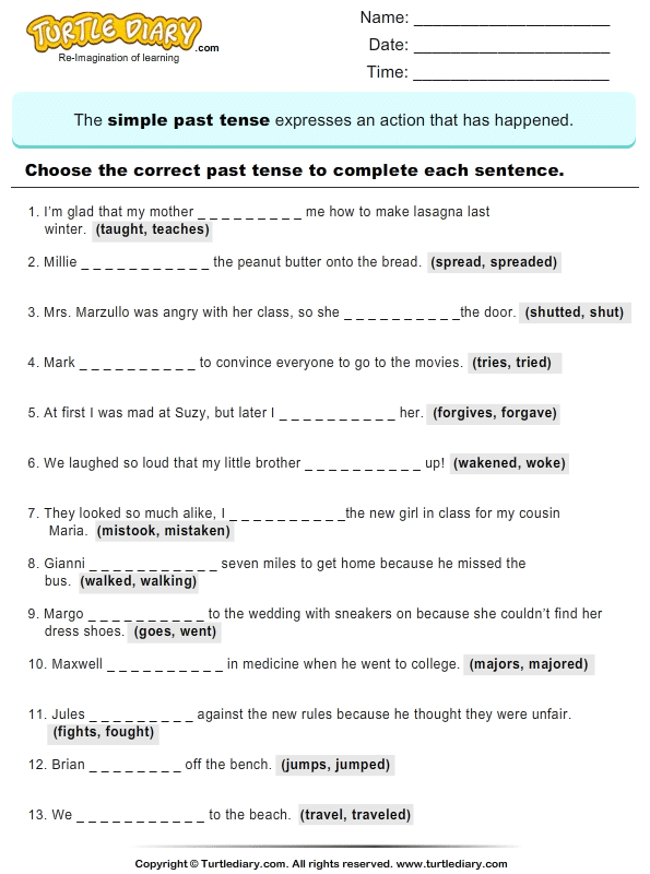 Write the past Tense of Verb