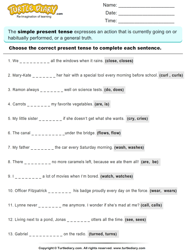 Read Sentences and Choose Correct Present Tense Verb