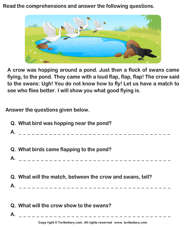Worksheets Reading Comprehension For Grade 1 With Questions reading comprehension crow worksheet turtle diary stories