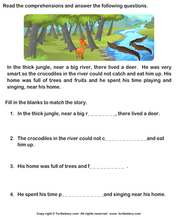 Reading comprehension Deer Worksheet - Turtle Diary