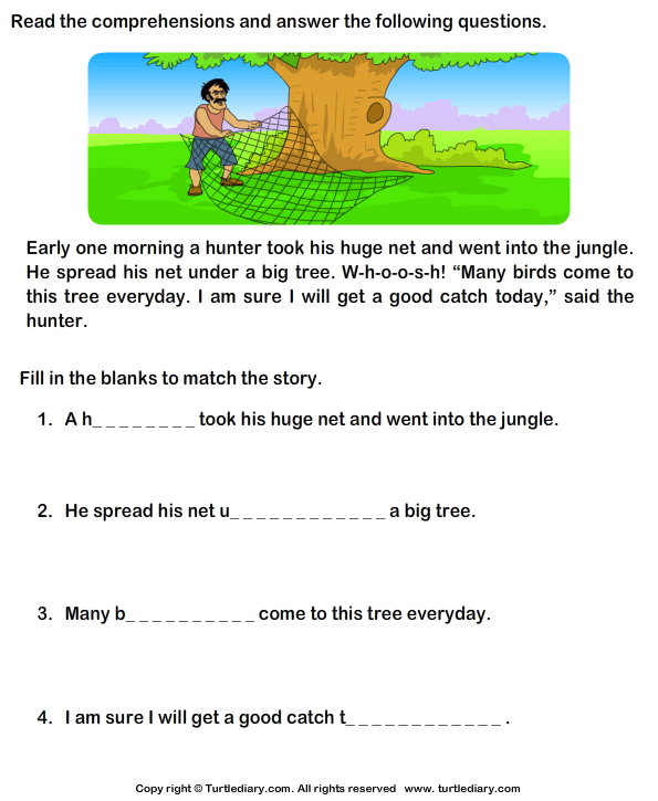 Printables Free Comprehension Worksheets For Grade 1 reading comprehension hunter worksheet turtle diary stories
