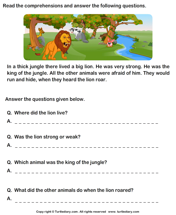 Reading Prehension Lion Worksheet Turtle Diary