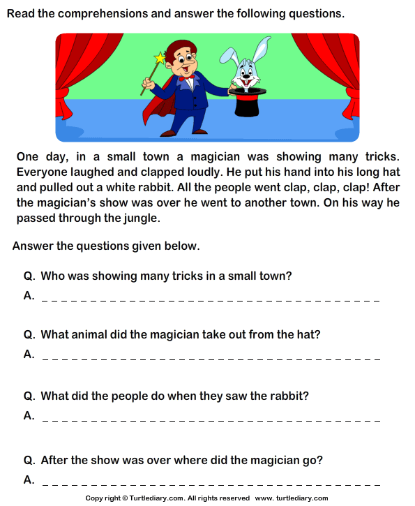 Worksheets Comprehension Passages For Grade 1 reading comprehension magician worksheet turtle diary stories
