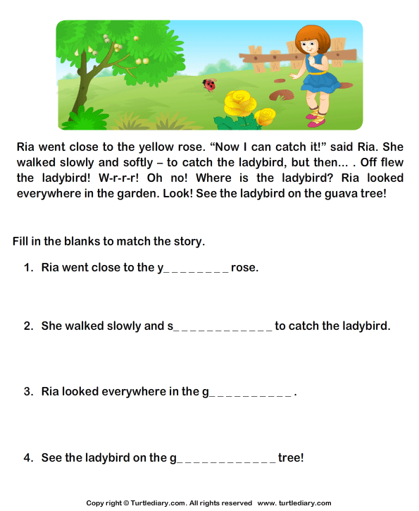 Reading Prehension Ria And Ladybird Worksheet Turtle