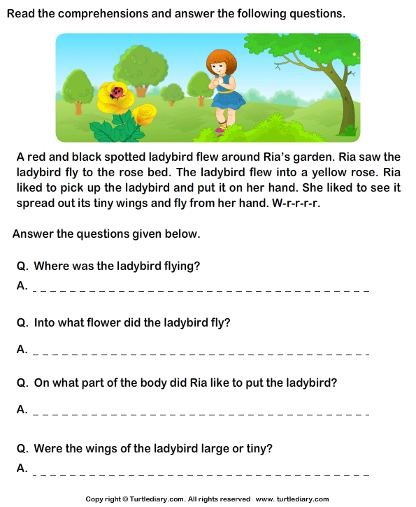 Worksheets Reading Comprehension For Grade 1 With Questions reading comprehension ria garden worksheet turtle diary stories