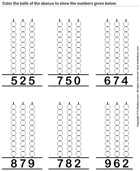 Represent the Number on Abacus Worksheet - Turtle Diary