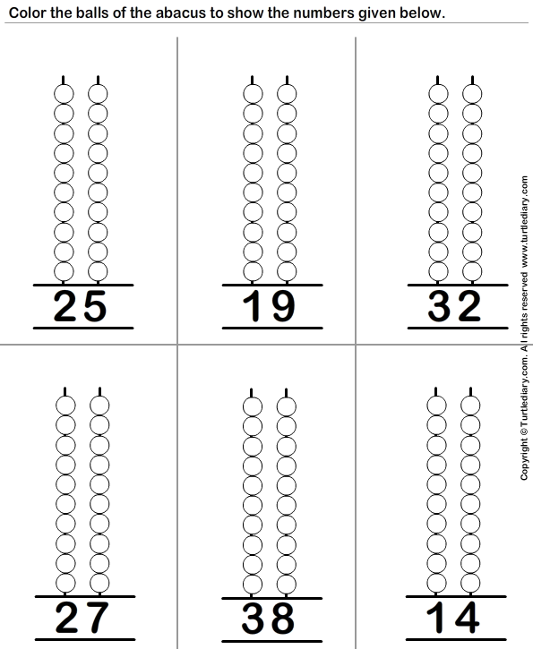 Represent Two Digit Numbers on Abacus by Coloring Balls Worksheet – Abacus Worksheets