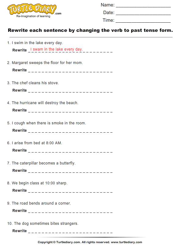 Rewrite Sentence by Changing Verb to Past Tense Form Worksheet – Verb Tenses Worksheet