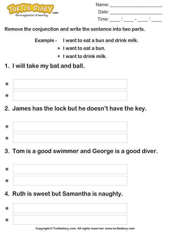 rewrite the sentences removing conjunctions worksheet