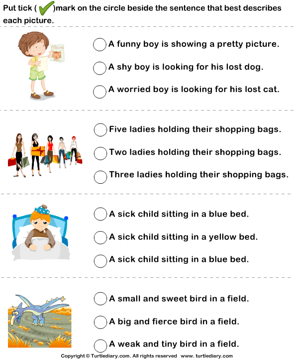 Sentences To Describe Pictures Worksheet Turtle Diary