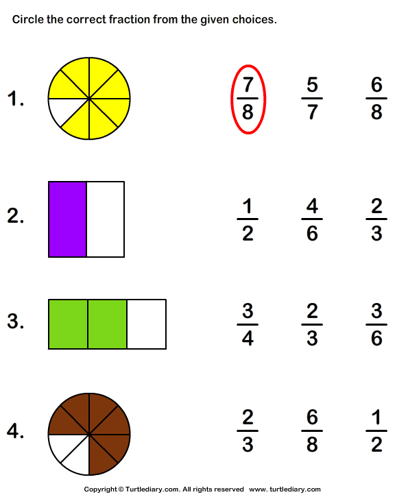 math worksheet : shaded part as fraction worksheet  turtle diary : Fractions Worksheets Grade 3