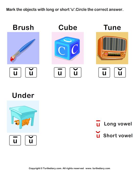 Worksheets Long U Sound Words short or long u sound words worksheet turtle diary identify the vowel in words