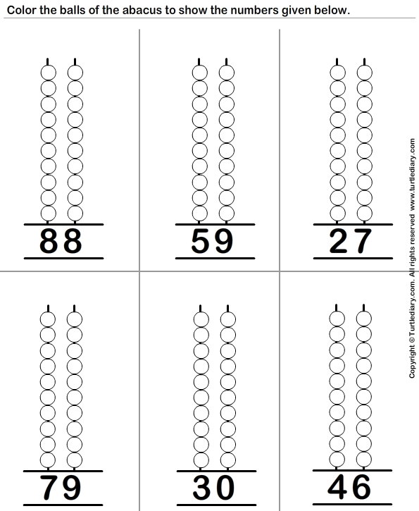 Printables Abacus Worksheets show the given number on abacus worksheet turtle diary two digit abacus