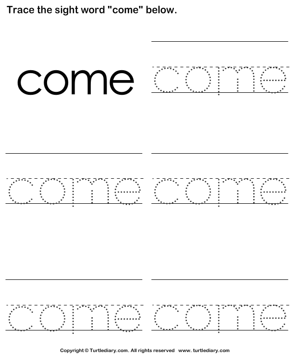 Sight Word Come Tracing Sheet Worksheet - Turtle Diary