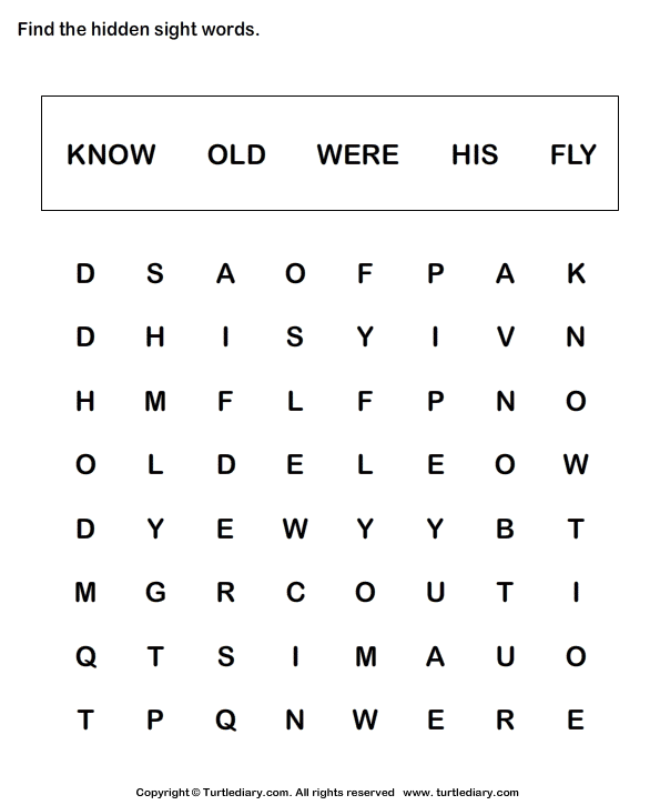 Sight Word Crossword