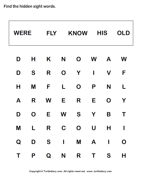 Sight Word Crossword