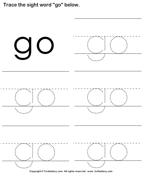 Sight Word Go Tracing Sheet Worksheet - Turtle Diary