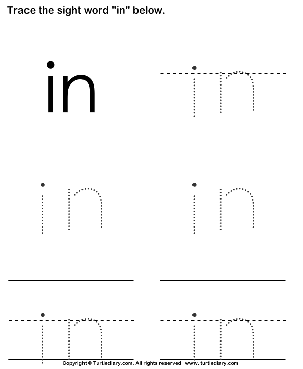 Sight Word In Tracing Sheet Worksheet Turtle Diary – Sight Words Worksheets