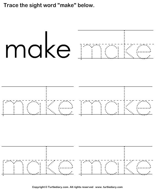 Traceable Worksheets Maker : Sight word make tracing sheet worksheet turtle diary