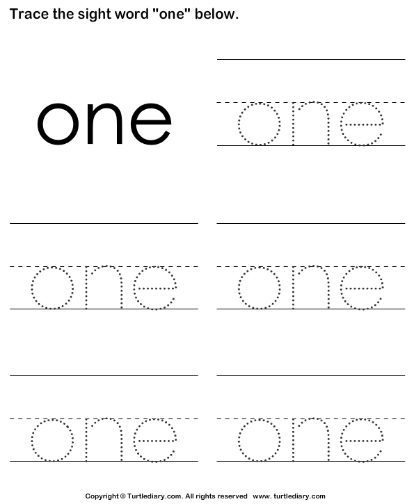 Sight Word One Tracing Sheet Worksheet - Turtle Diary