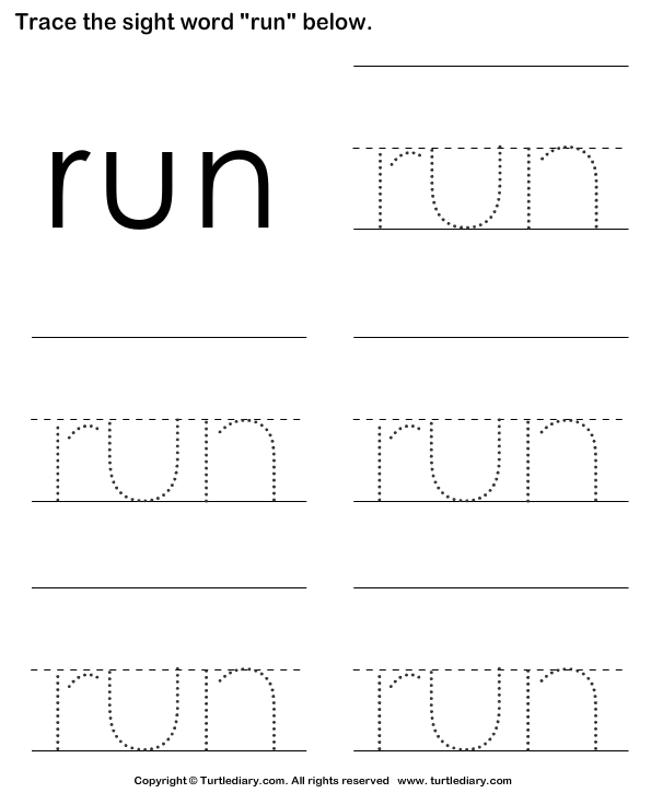 Sight Word Run Tracing Sheet Worksheet - Turtle Diary