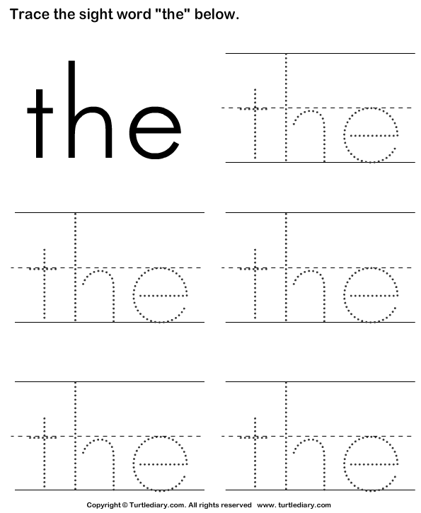 Sight Word The Tracing Sheet Worksheet - Turtle Diary