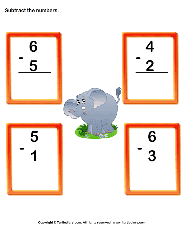 Single Digit Column Subtraction Worksheet Turtle Diary – 1 Digit Subtraction Worksheets