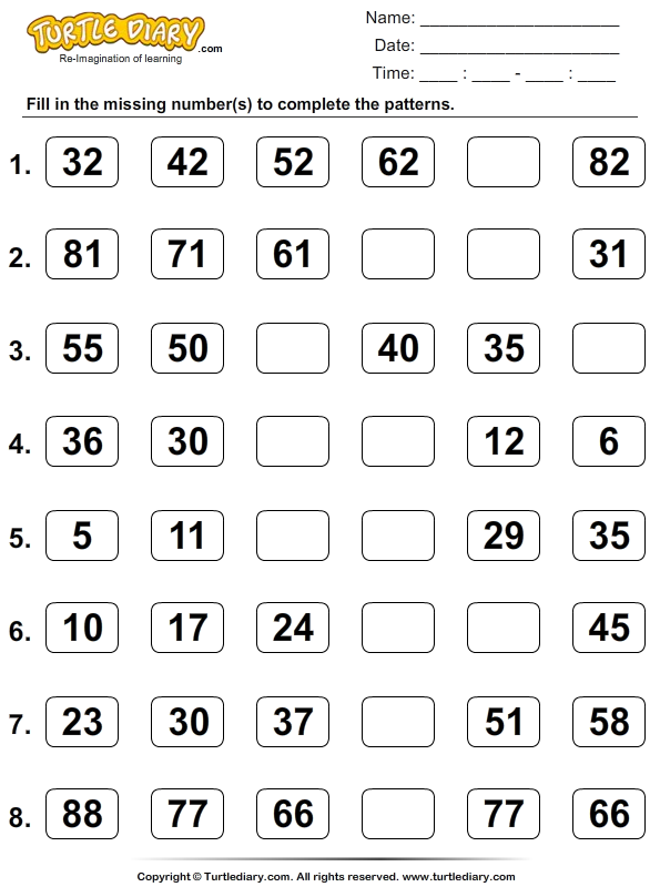 Skip Count to Find the Missing Numbers Worksheet - Turtle Diary