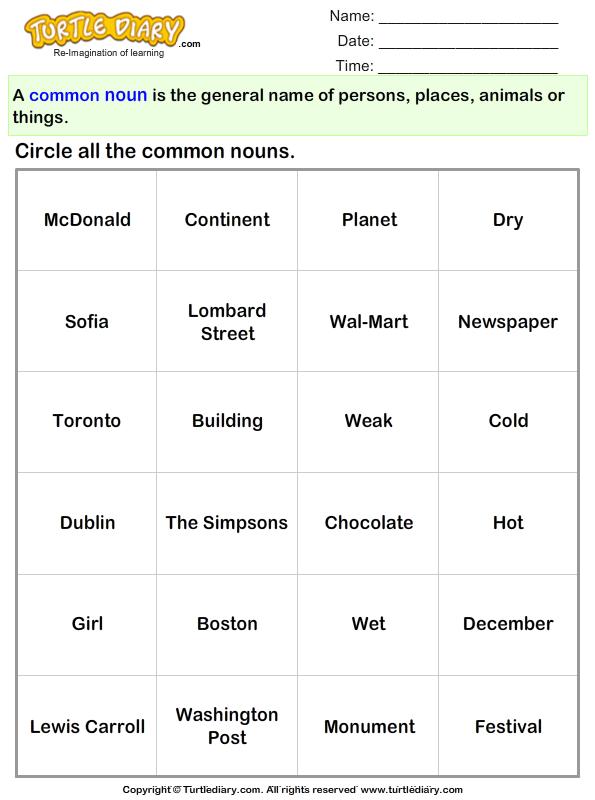 Circle the Common Nouns
