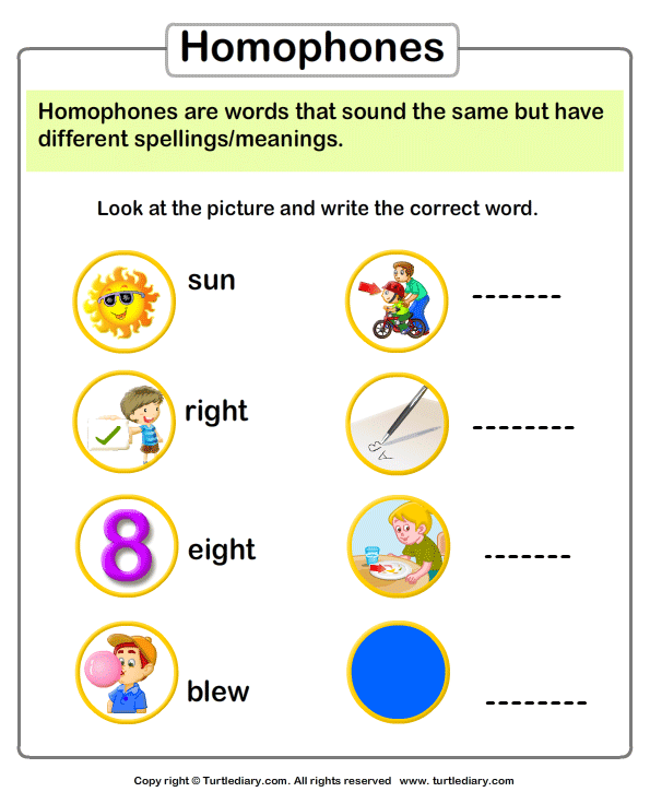 Spelling Homophones Worksheet Turtle Diary – Homophone Worksheet
