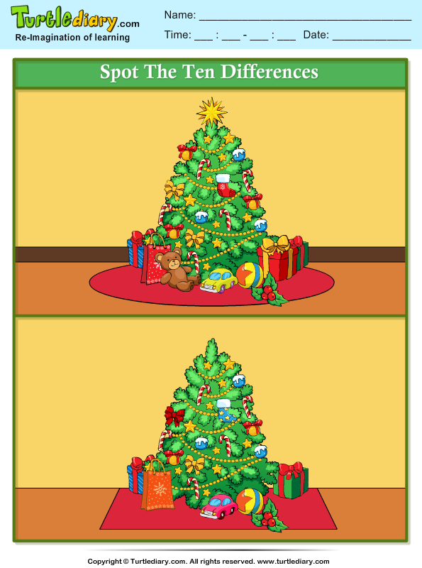 Spot the Difference Christmas Tree Worksheet - Turtle Diary
