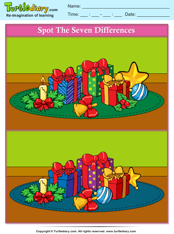 Spot The Difference Gifts on christmas tree math worksheets