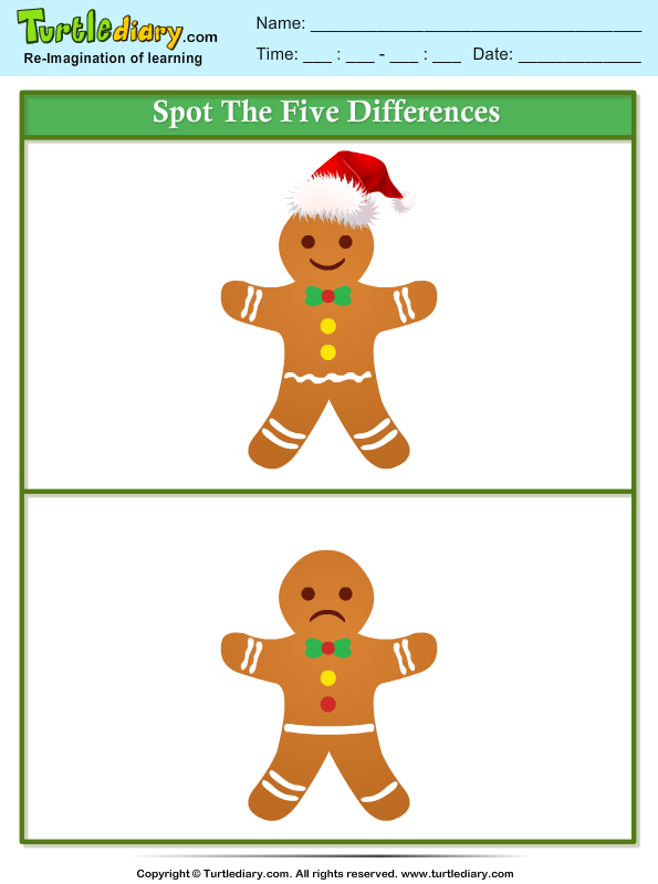 Spot the Difference Gingerbread Worksheet - Turtle Diary