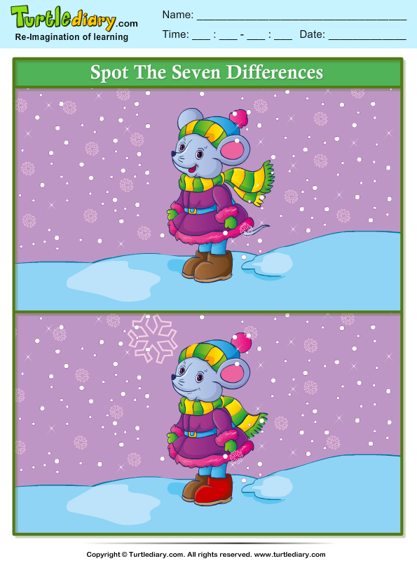 Spot The Difference Mouse Worksheet Turtle Diary