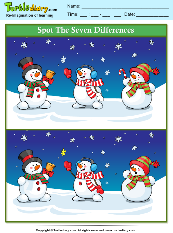 Spot the Difference Snowman with Bell Worksheet - Turtle Diary
