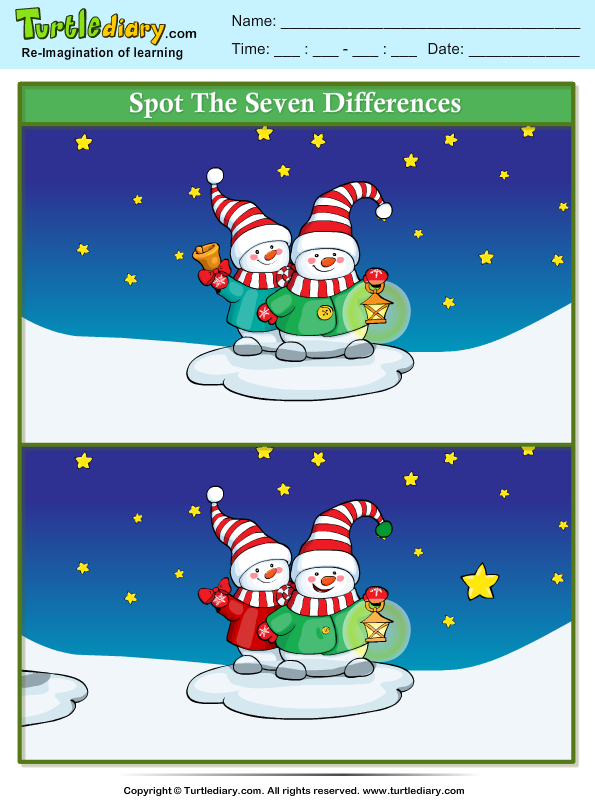 Spot the Difference Snowman with Lamp Worksheet - Turtle Diary