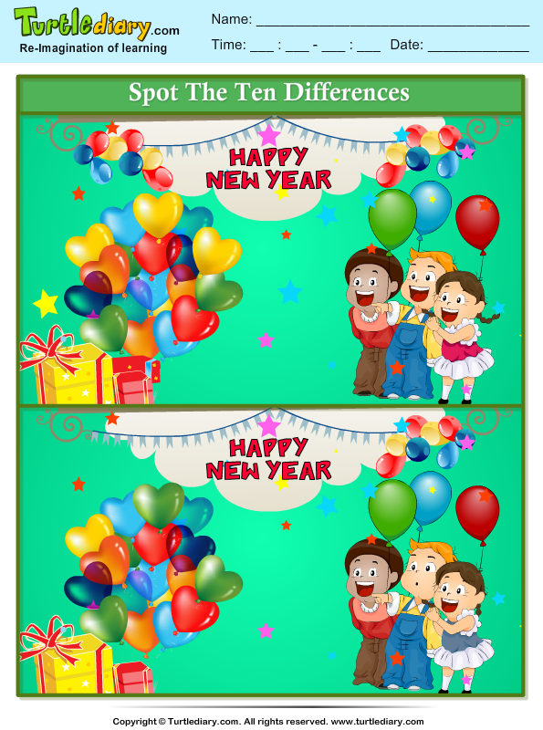 Spot The Differences New Year Carnival on award worksheets