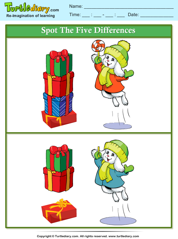 Spot The Differences Puppy With Gift Worksheet Turtle Diary
