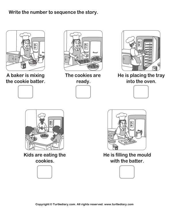 Story Sequencing Baker and Cookie Worksheet - Turtle Diary