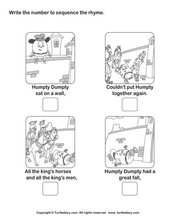 Story Sequencing Humpty Dumpty Worksheet Turtle Diary – Sequencing Worksheets