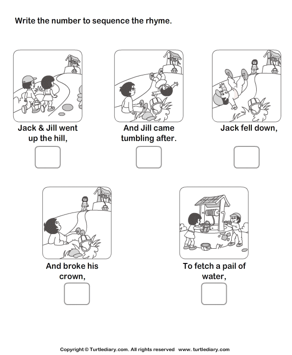 Story Sequencing Jack and Jill Worksheet - Turtle Diary